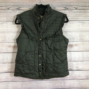Free People Puffy Ruffle Line Green Vest